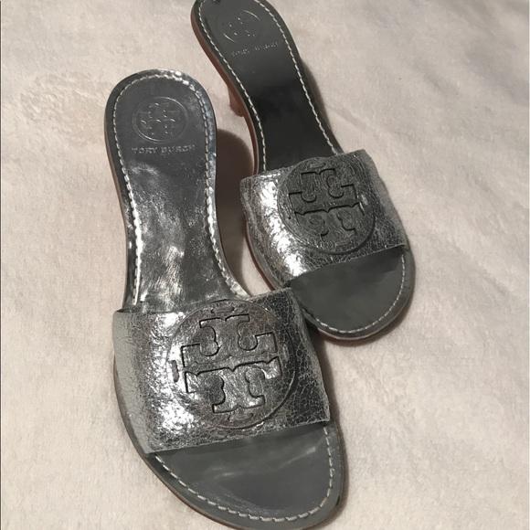 13e28949e9b1 NEW Tory Burch silver Aerin kitten heels! M 5a9100a4d39ca217ac794610
